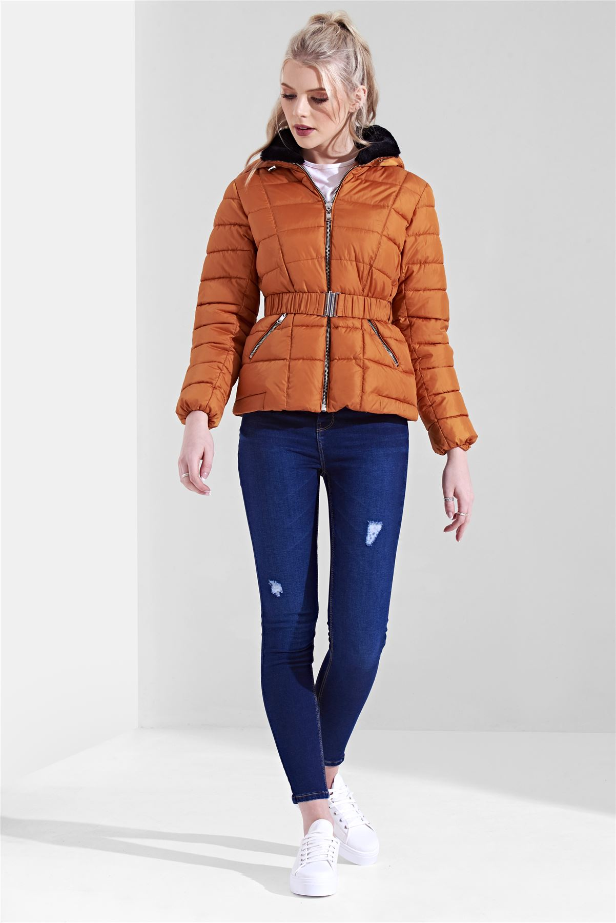 Womens-Ladies-Black-Hood-Belted-Fur-Collar-Zip-Up-Quilted-Puffer-Jacket-Coat thumbnail 5