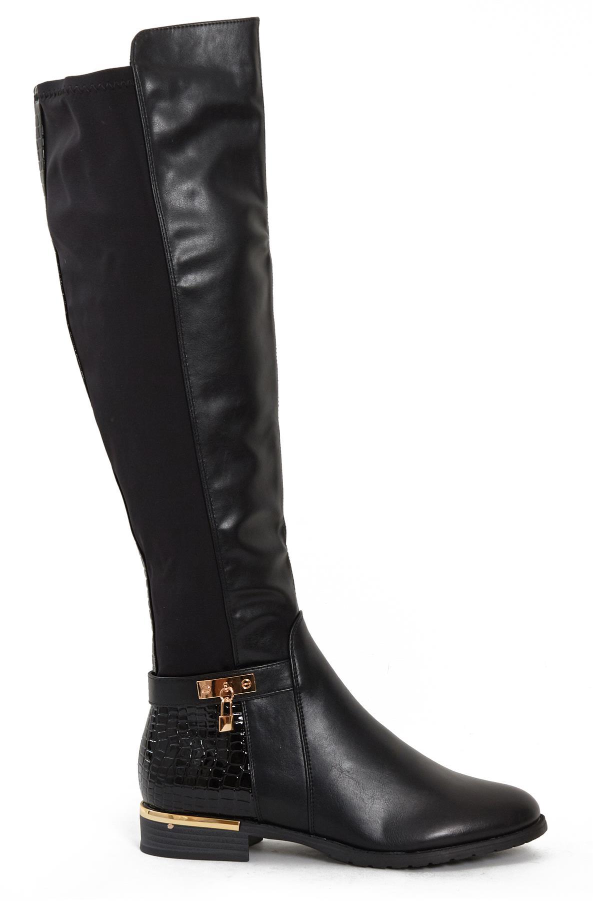 Womens-Ladies-Knee-High-Gold-Detail-Low-Block-Heel-Zip-Up-PU-Suede-Black-Boots thumbnail 3