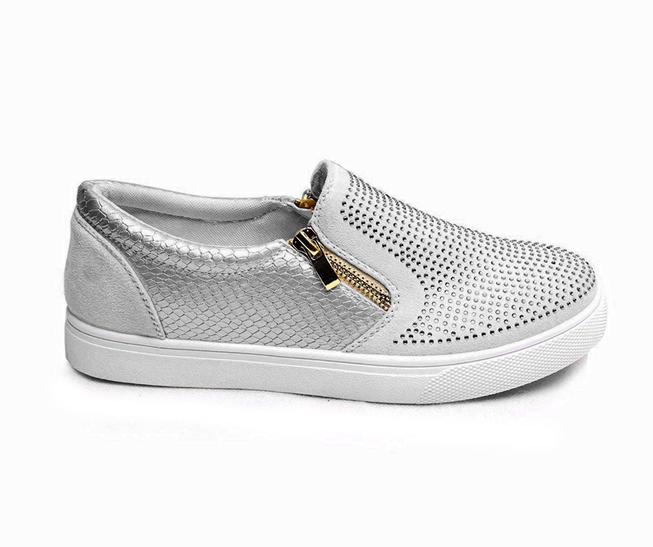 New-Womens-Diamante-Zip-Trainers-Slip-On-Skater-