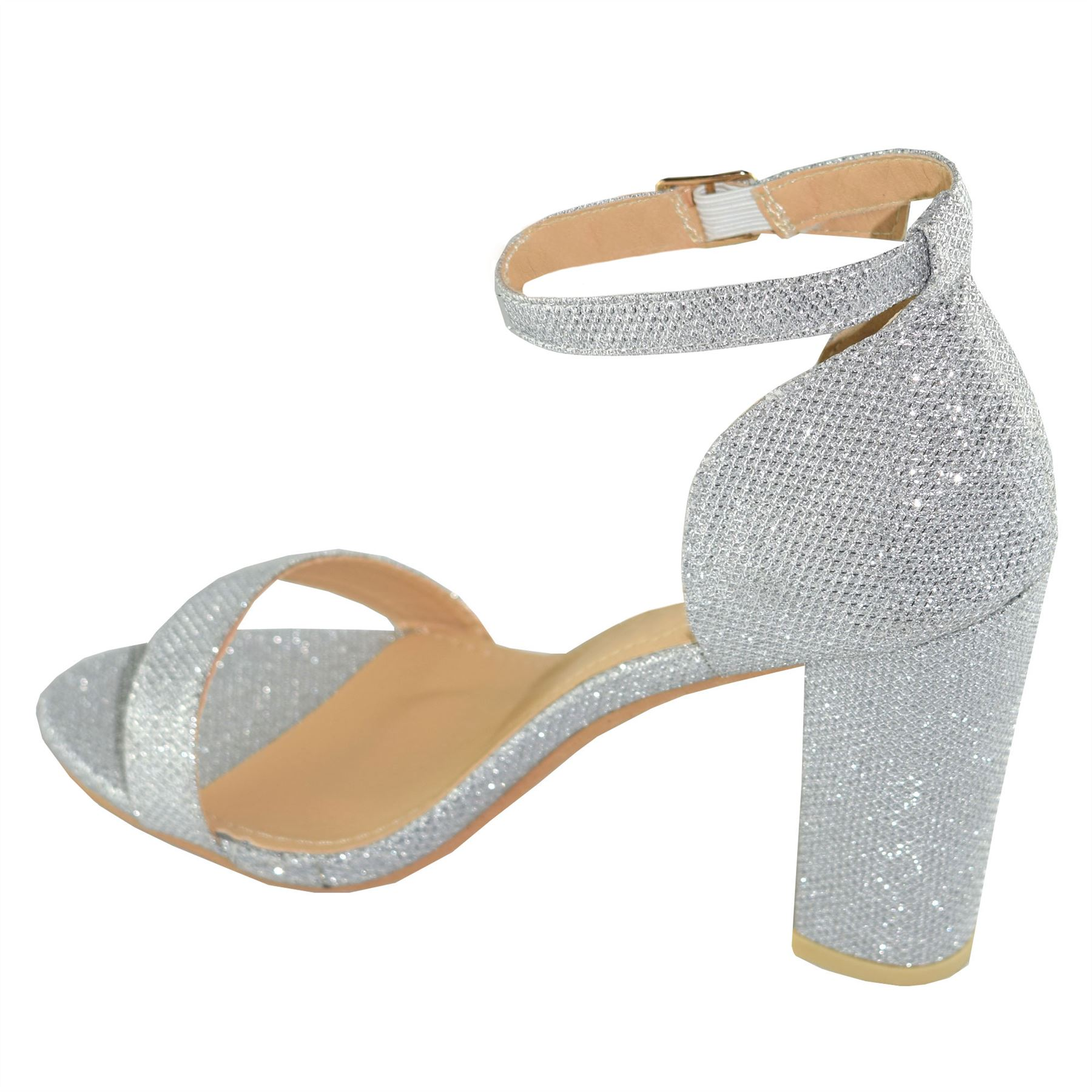 0d2ce33d101 Details about New Womens Mid Block Heel Ankle Strap Sparkle Giltter Formal  Casual Shoes
