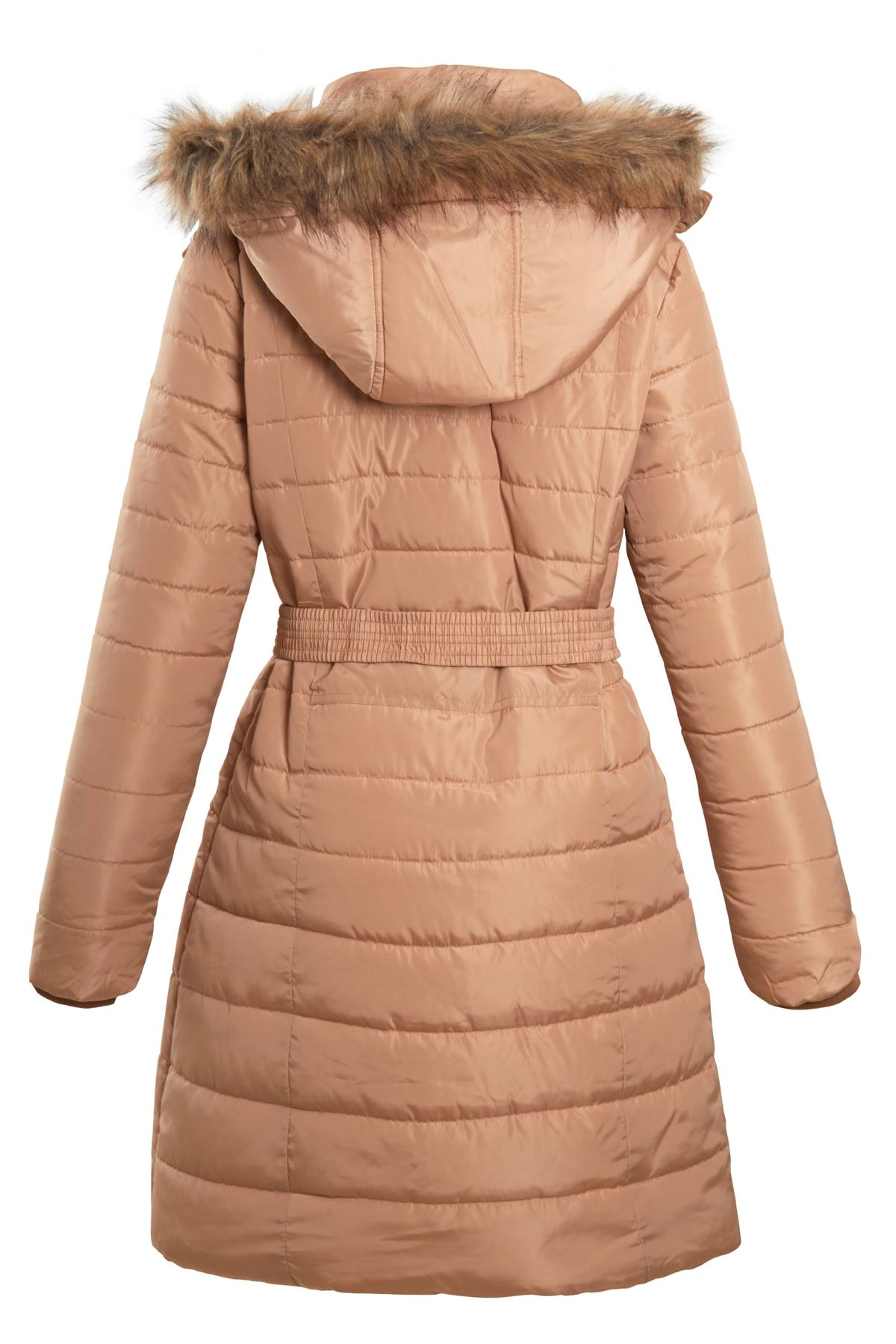 Ladies-Belted-Faux-Fur-Hood-Hooded-Long-Parka-Jacket-Quilted-Winter-Coat thumbnail 3