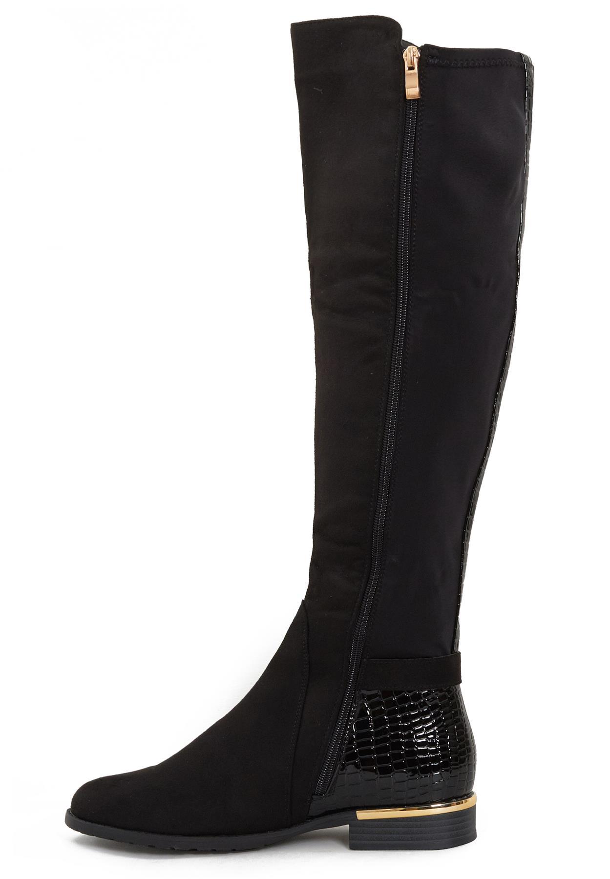 Womens-Ladies-Knee-High-Gold-Detail-Low-Block-Heel-Zip-Up-PU-Suede-Black-Boots thumbnail 10