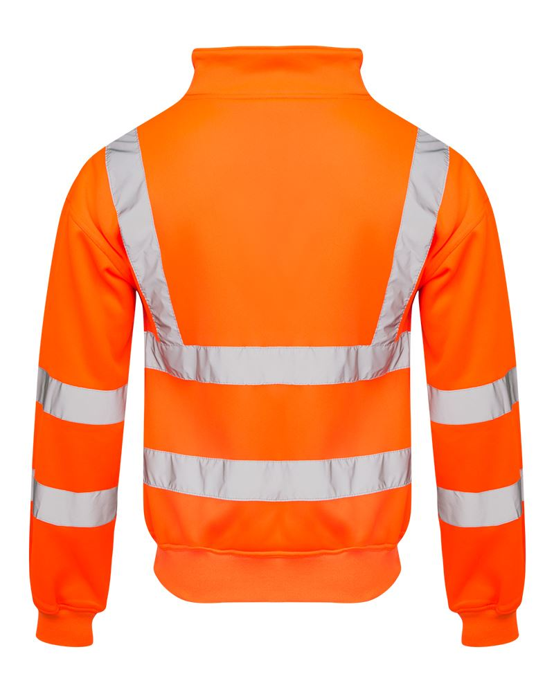 Mens-Quarter-Zip-Hi-Vis-Long-Sleeve-Fleece-2-Two-Tone-Sweatshirt-Jumper-Top thumbnail 5