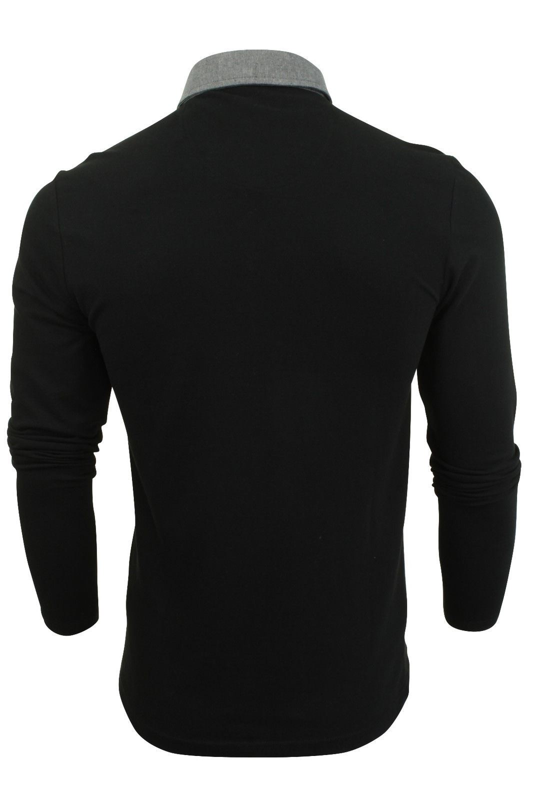 New-Mens-Button-Up-Long-Sleeve-Pique-Collared-Casual-Formal-Polo-Jumper-Shirt thumbnail 3