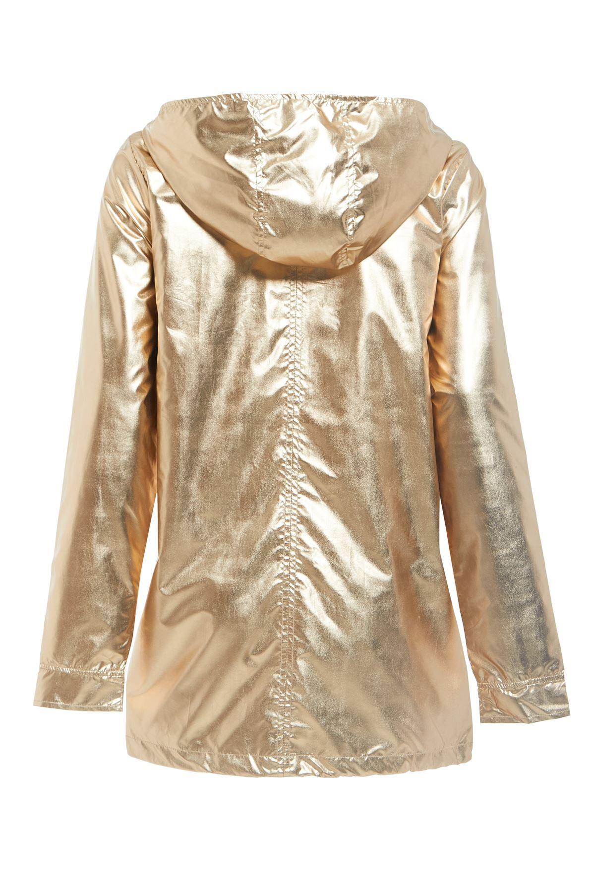New-Womens-Hooded-Zipped-Metallic-Festival-Jacket-Top-Kagool-Mac-Raincoat-8-16 thumbnail 3
