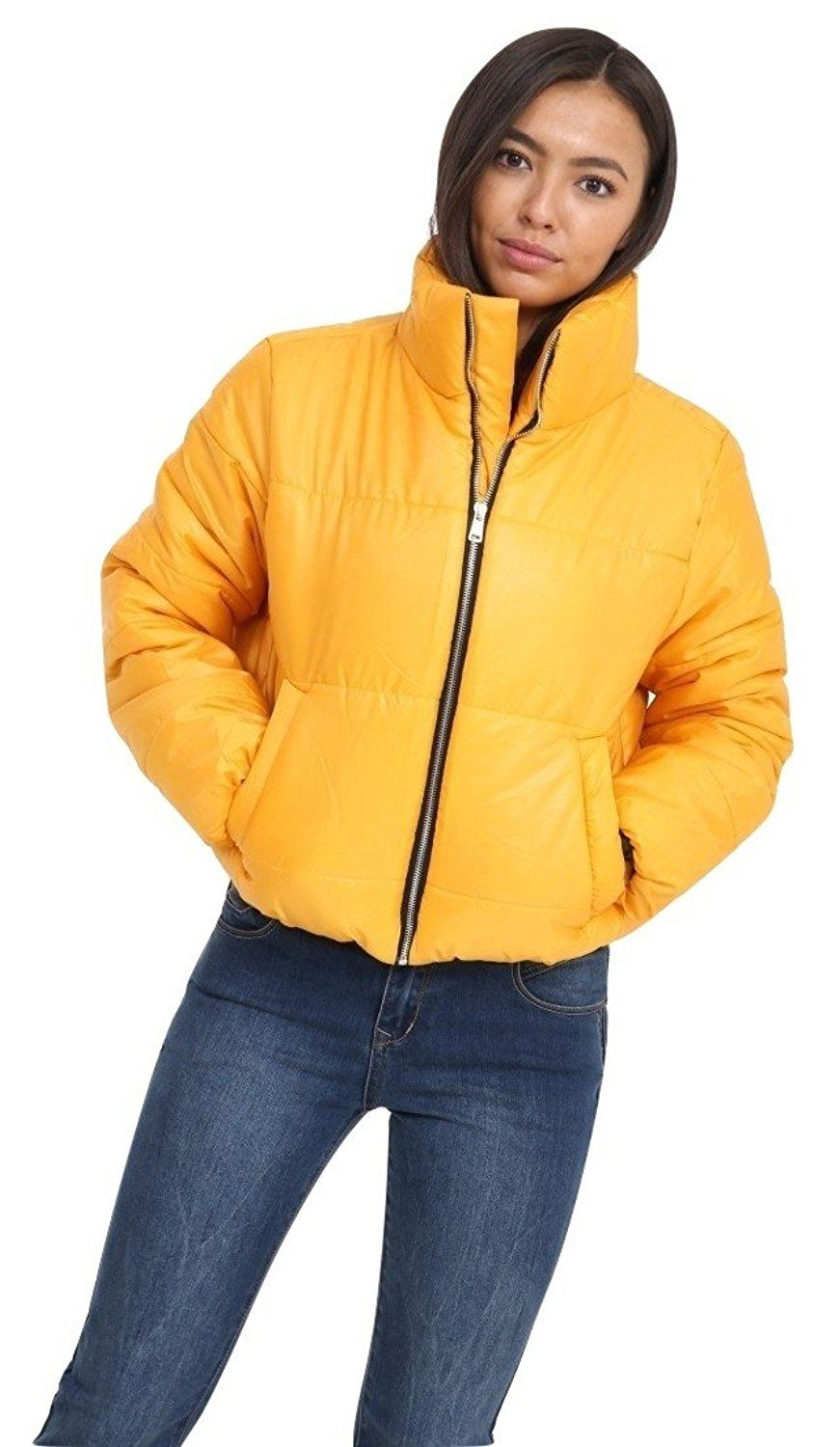 Womens Cropped Puffer Coat Warm Fashion Top Quilted Padded ...
