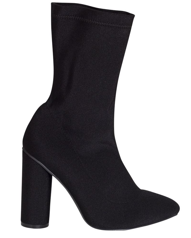 Shelikes-Womens-Round-Heel-Fit-Stretch-Ankle-Black-Polyester-Sock-Shoes-Boots thumbnail 4