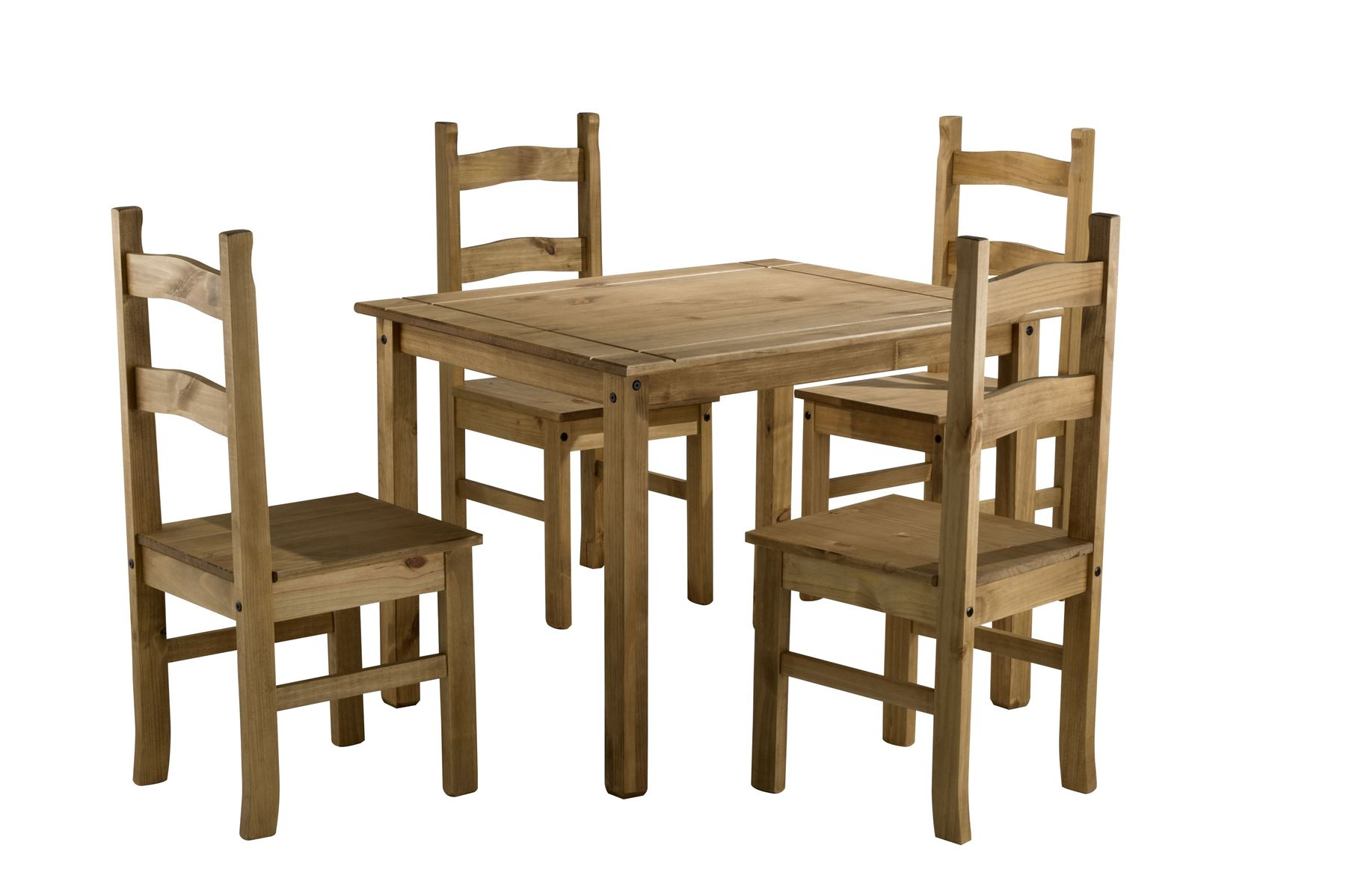 Corona small mexican pine dining table 4 chairs solid for Small dining table set for 4