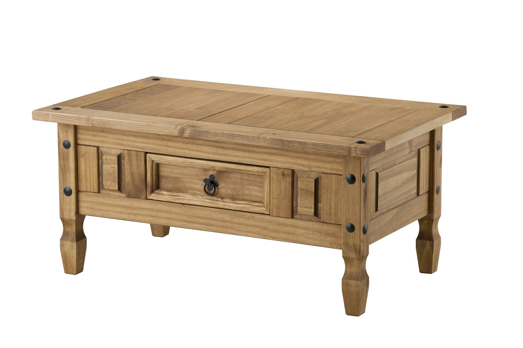 Corona Coffee Table with Drawer Mexican Pine Solid Wood Furniture