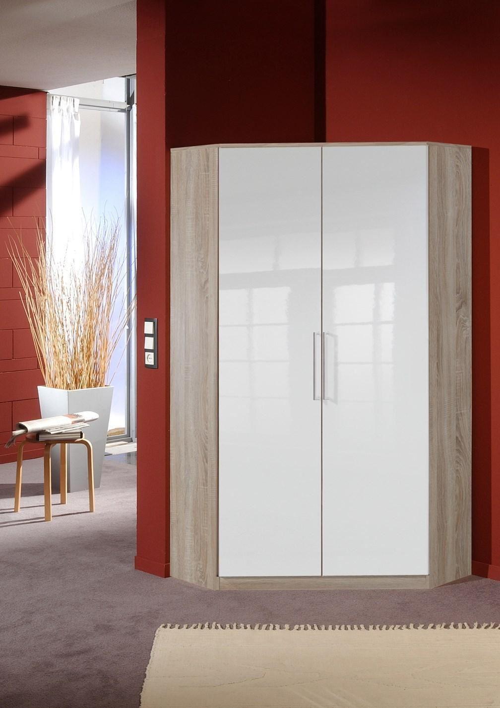 German 2 door white gloss oak corner wardrobe with for 1 door corner wardrobe