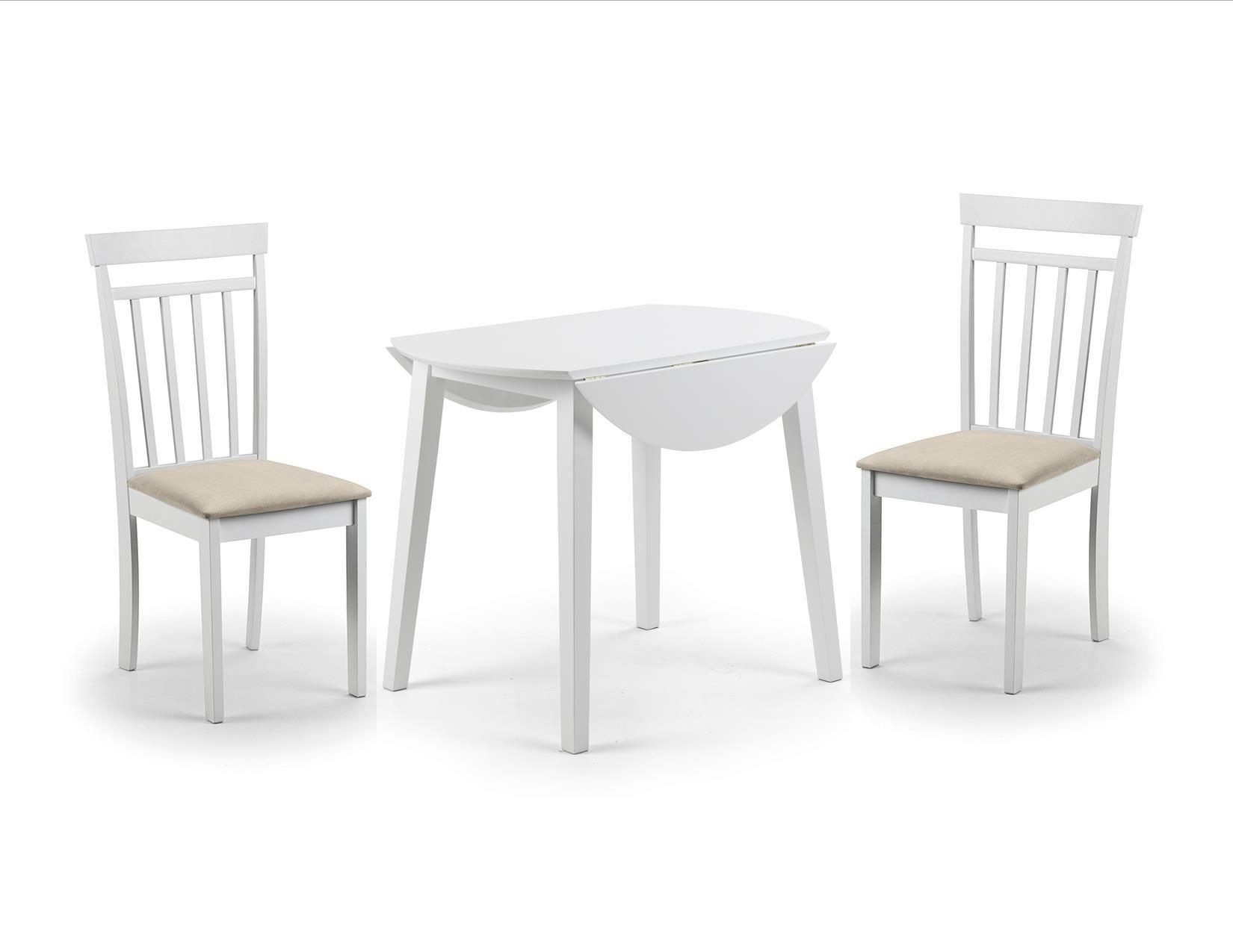Julian Bowen Coast White Wood Round Kitchen Dining Table Drop Leaf 2