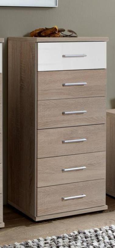 german white gloss oak 6 drawer tall narrow chest of drawers ebay. Black Bedroom Furniture Sets. Home Design Ideas