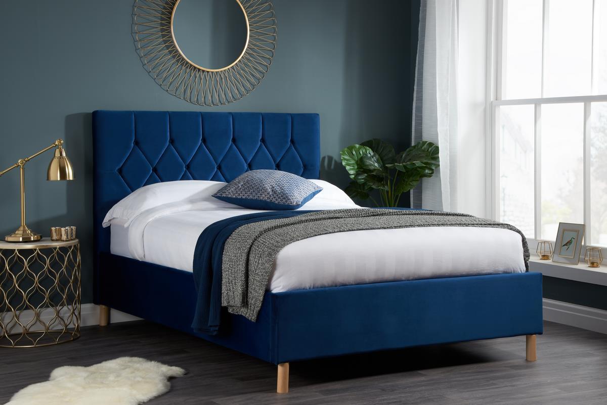 Birlea Loxley Ottoman Bed Frame 120cm Small Double 4ft Navy Blue Fabric Storage 5056206626013 Ebay