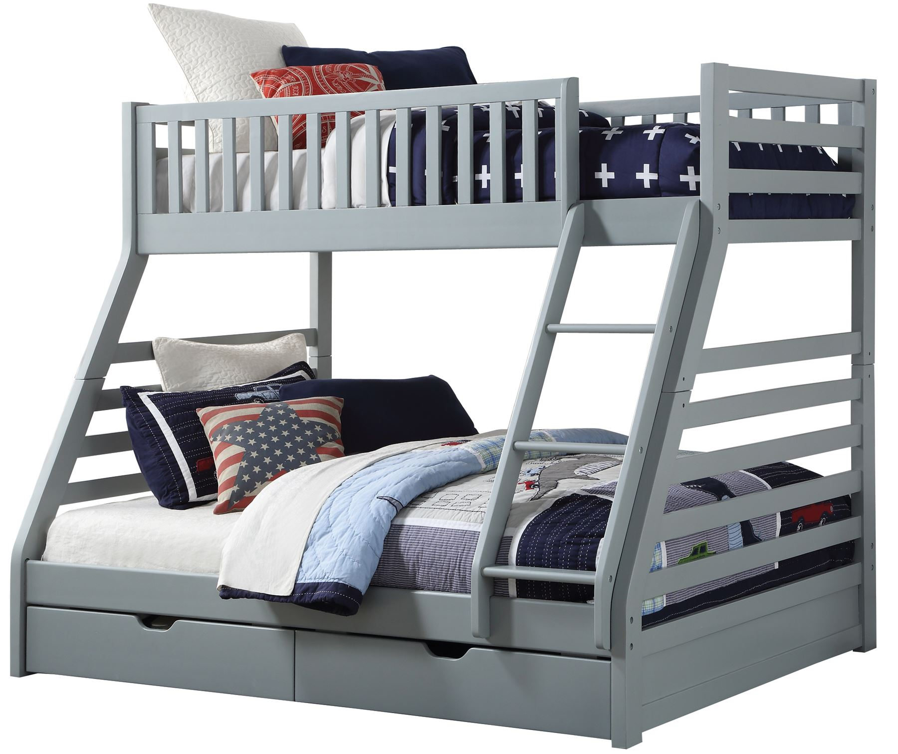 sweet dreams states wooden triple sleeper bunk bed frame grey wood with drawers 712383008923 ebay. Black Bedroom Furniture Sets. Home Design Ideas