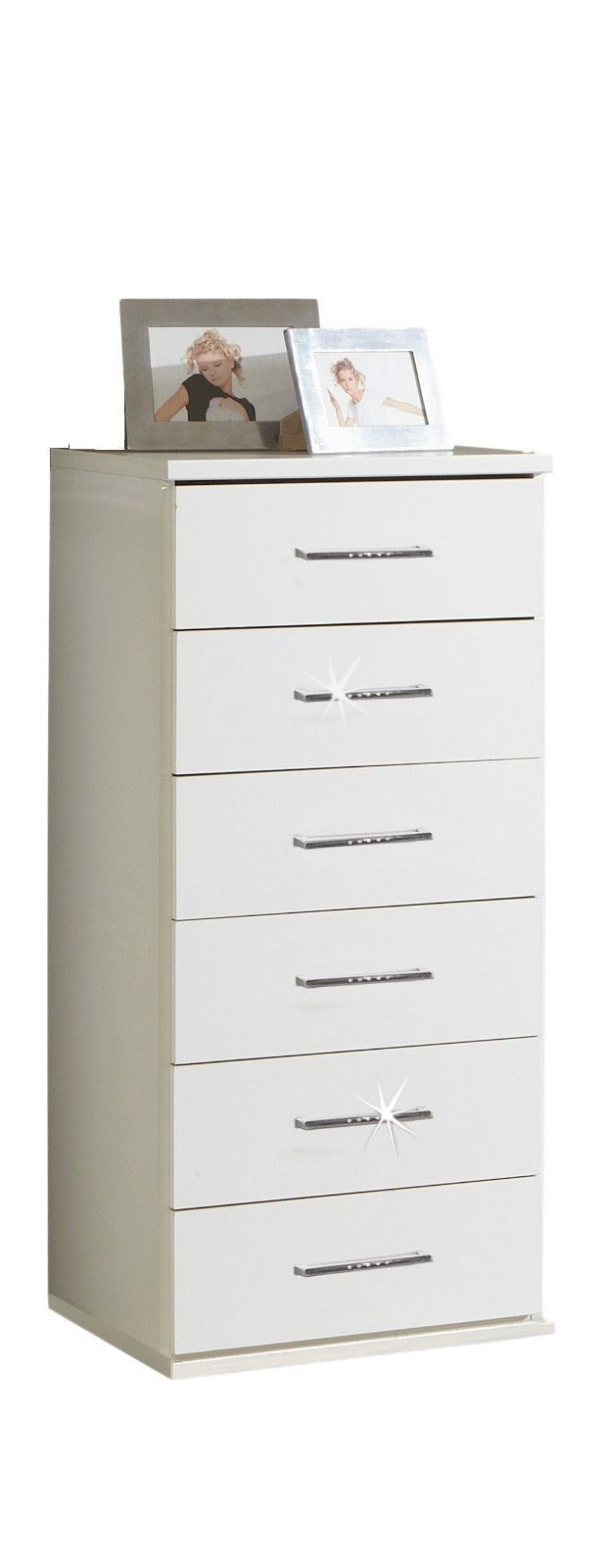 Bijoux German 6 Tall Narrow Chest of Drawers White Crystal Rhinestone Bling 4038061150859 | eBay