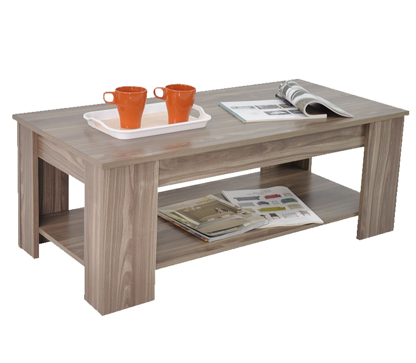 Stephanie Storage Large Solid Lift Up Coffee Table Walnut