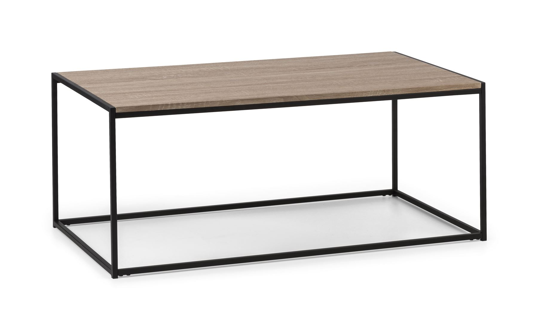 julian bowen tribeca black metal oak industrial steel rectangular coffee table ebay. Black Bedroom Furniture Sets. Home Design Ideas