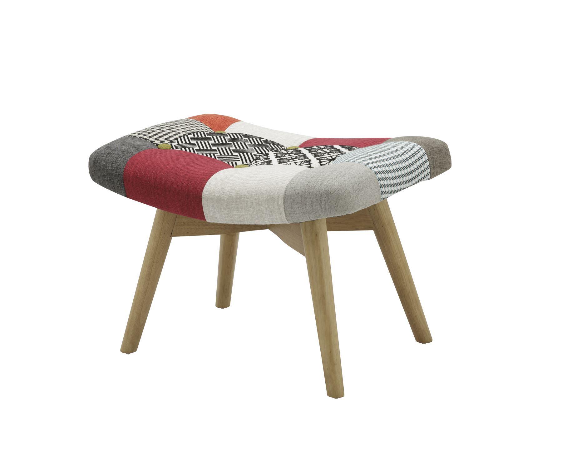 Birlea Sloane Stool Chair Scandinavian Modern Retro Patchwork