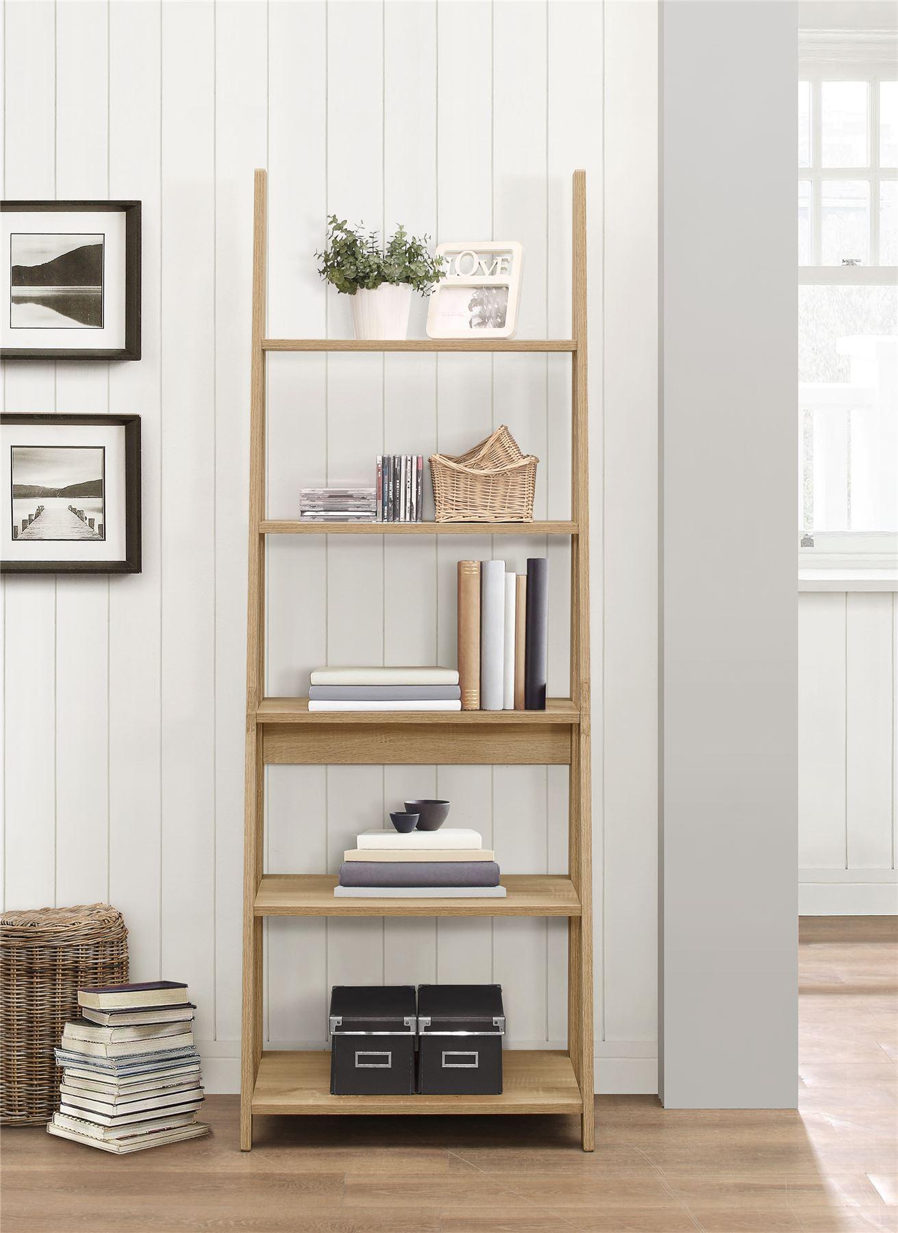 Birlea Nordic Scandinavian Retro Ladder Bookcase Shelving ...