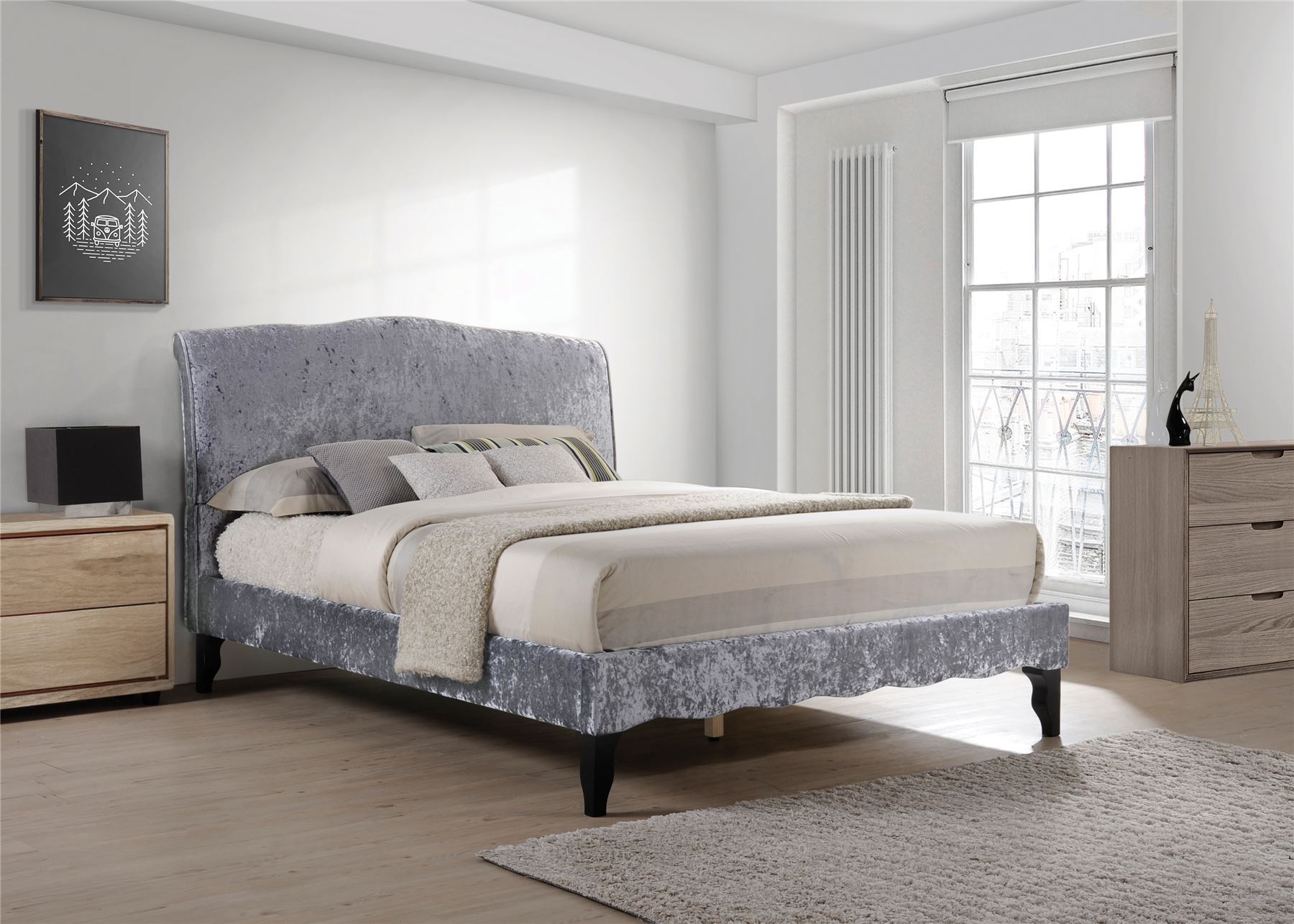 Carlo French Provence King Size Bed Frame 5Ft 150cm Dark Grey ...