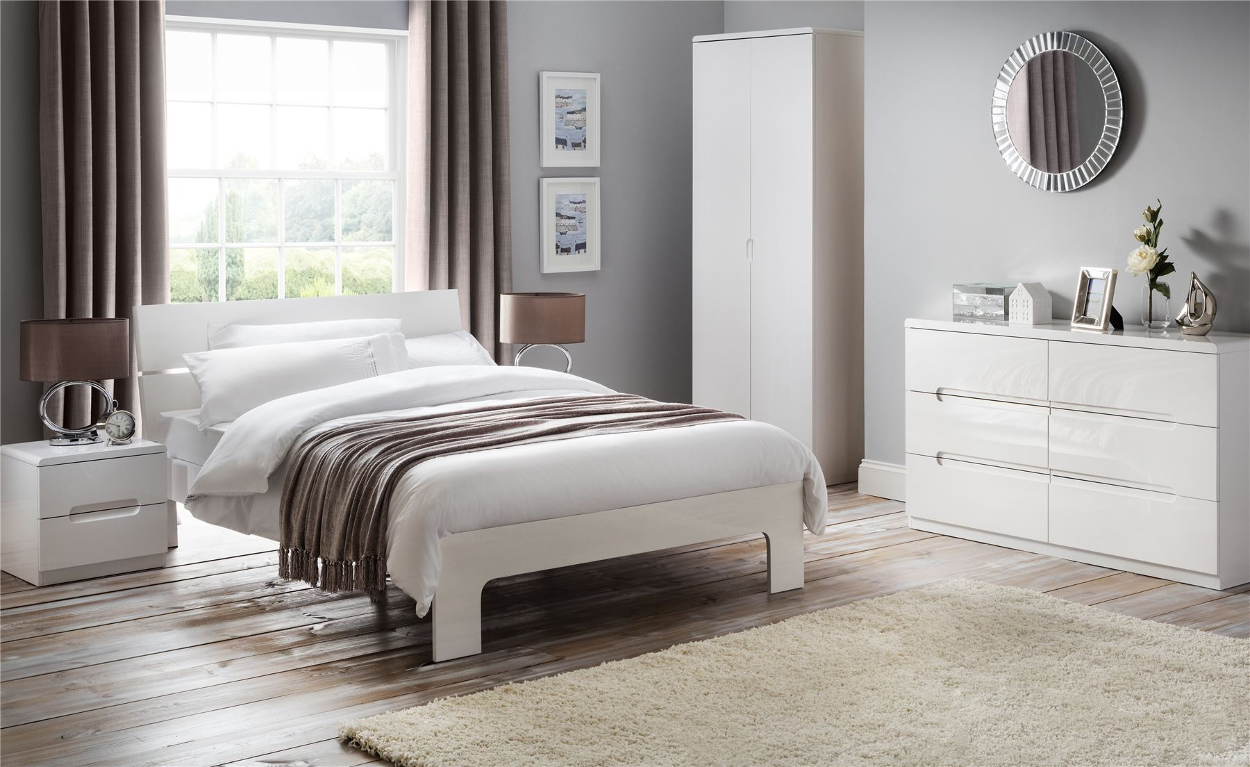 Julian Bowen Manhattan White High Gloss Bed Frame Double 4FT6 135CM ...