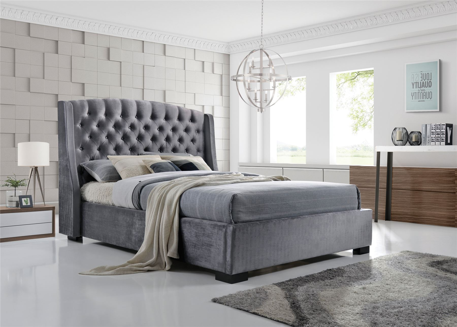 Details about brando wing back chesterfield king size bed frame 5ft 150cm grey velvet fabric