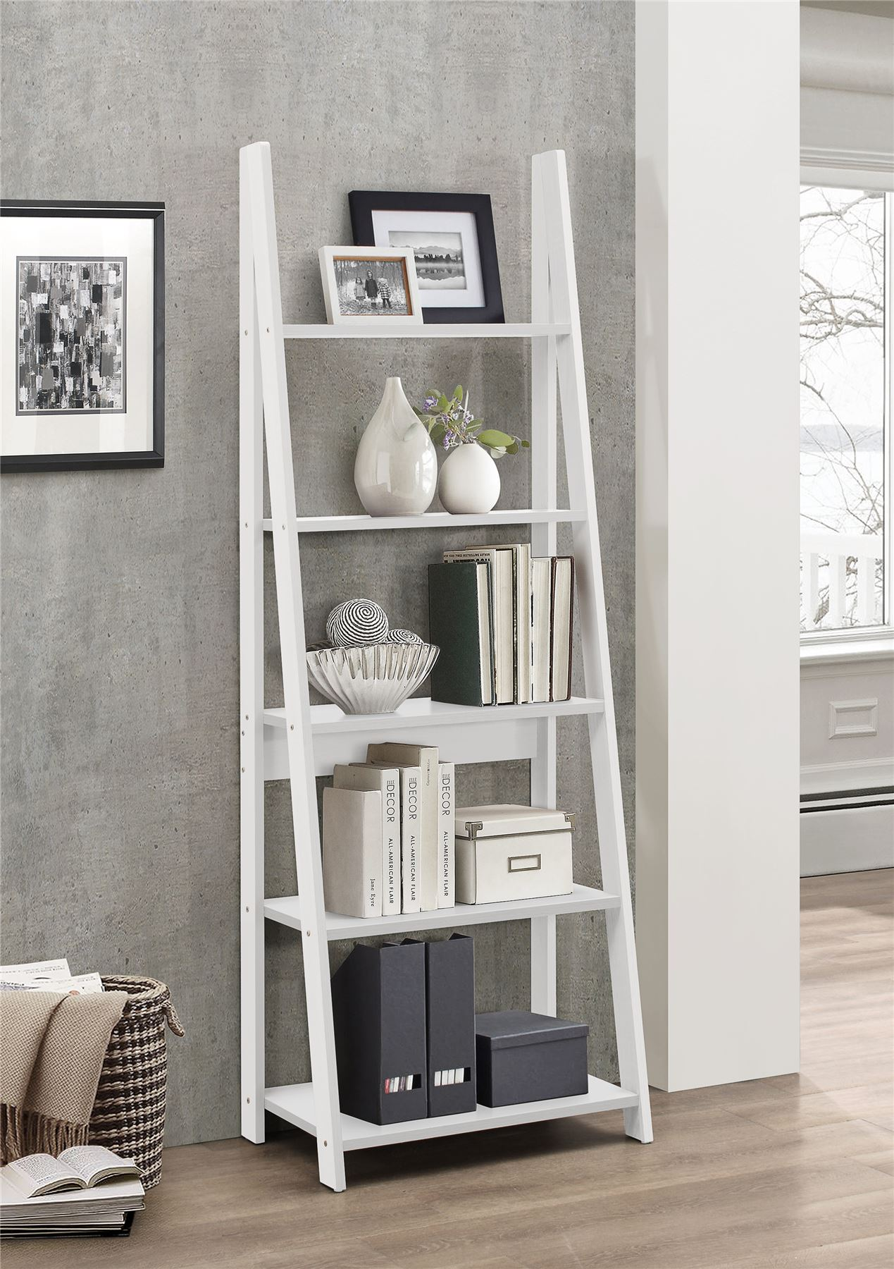 Birlea Nordic Scandinavian Retro Ladder Bookcase Shelving