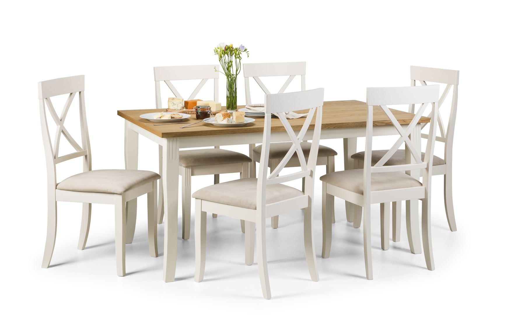 julian bowen davenport rectangular oak ivory dining table