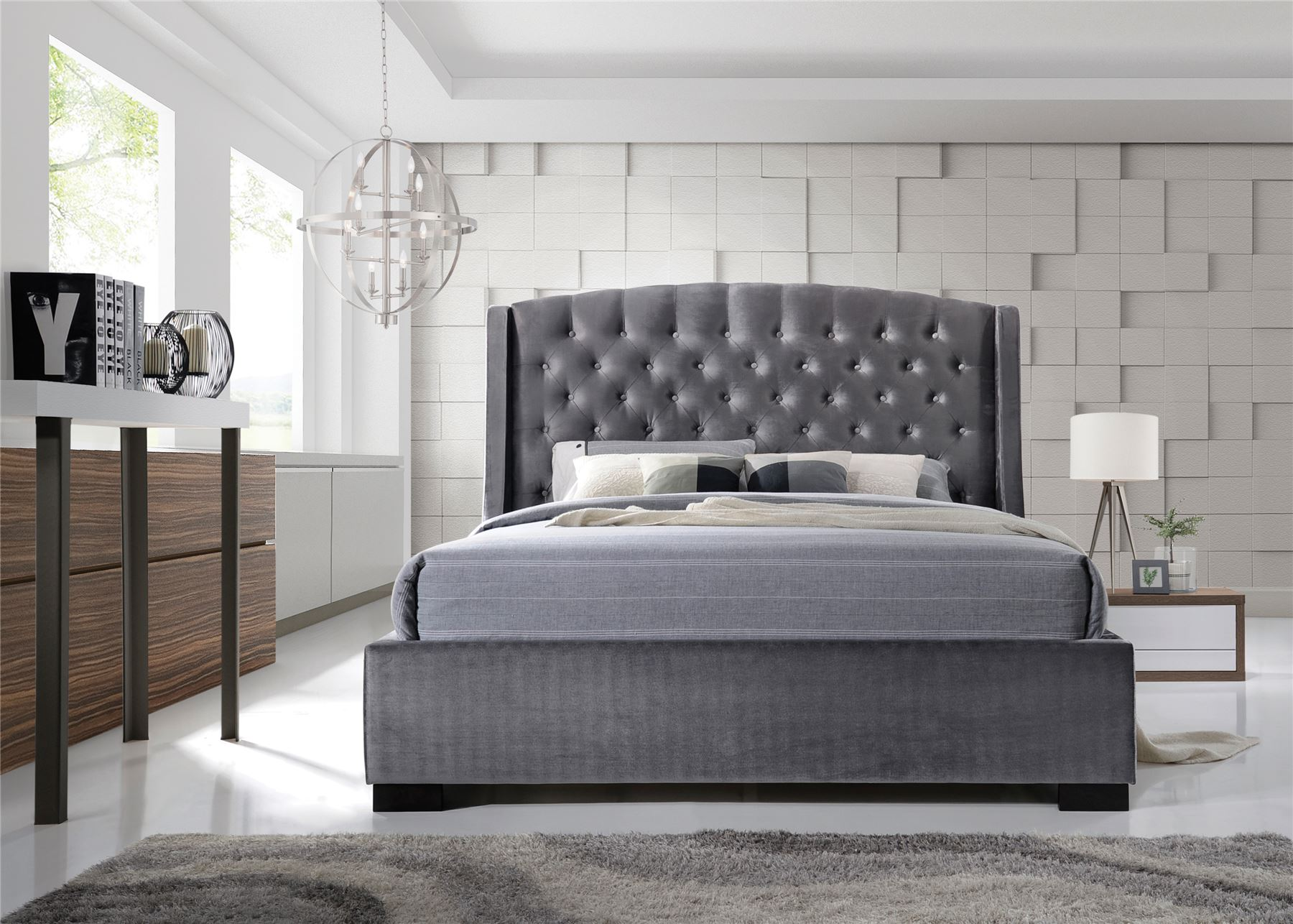 Brando wing back chesterfield double bed frame 4ft6 135cm Bedroom furniture chesterfield