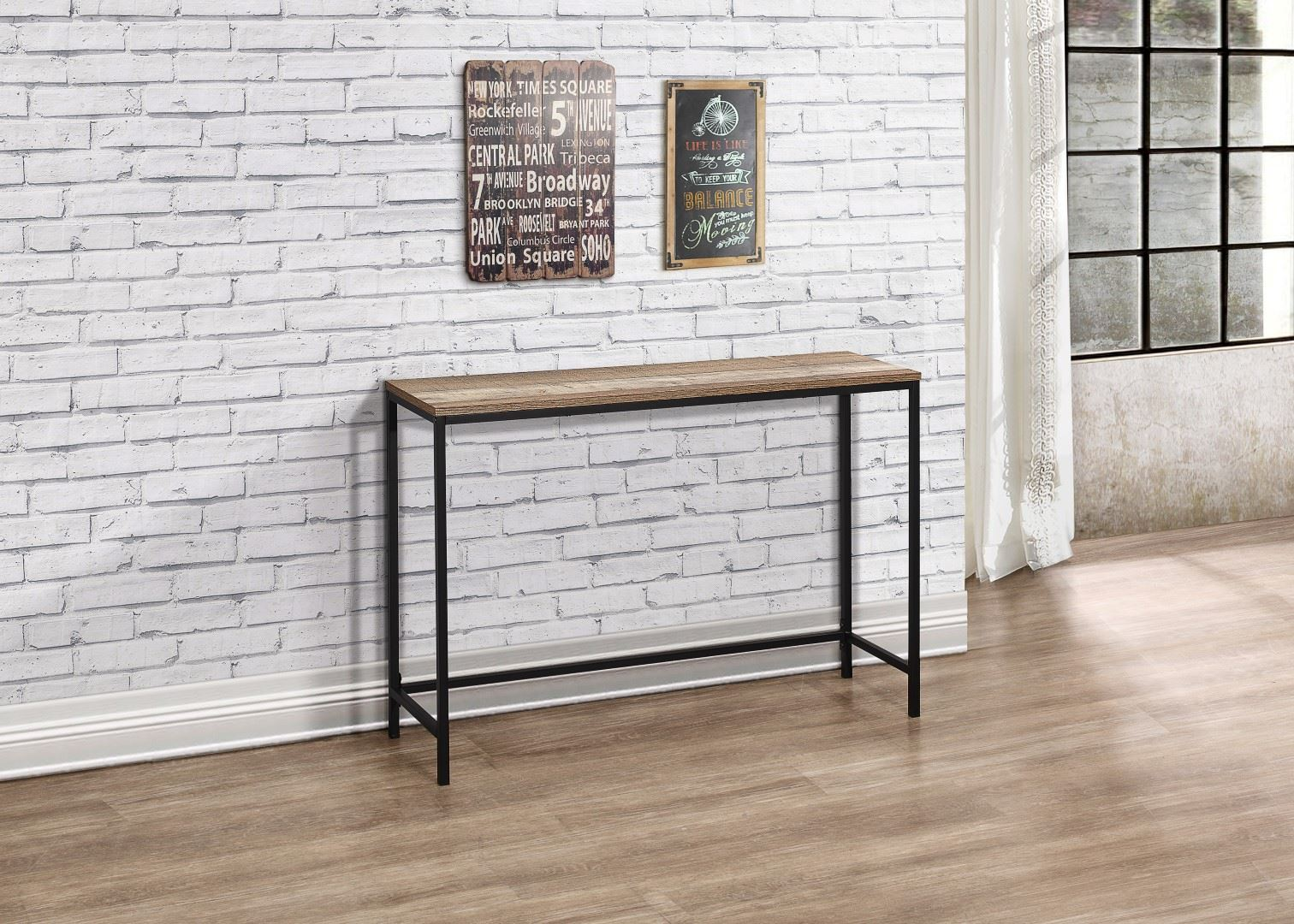 Birlea Urban Industrial Chic Console Hall Table Wood Black Metal Hallway