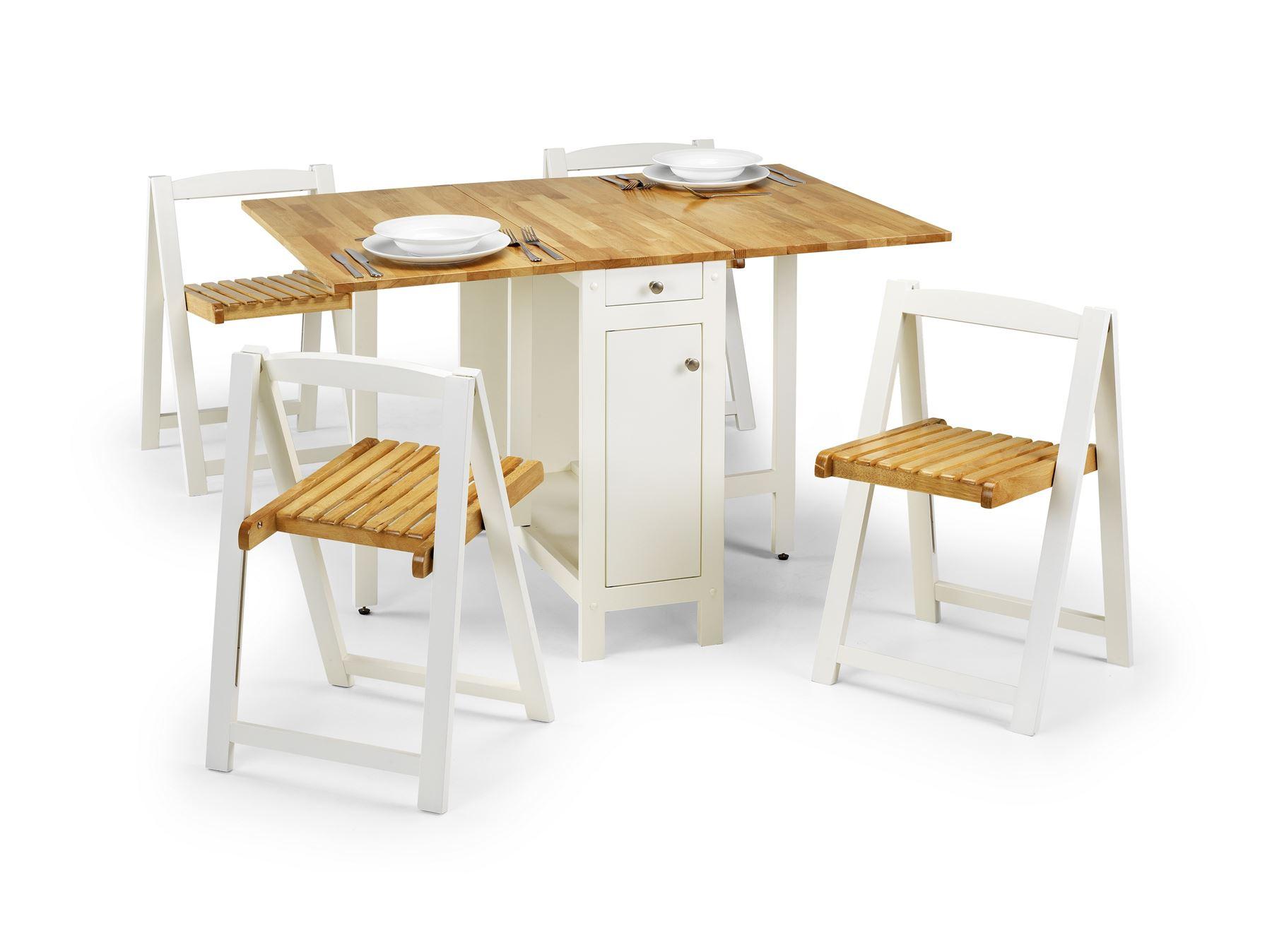 Julian Bowen Savoy Space Saving Folding Butterfly Table 4 Chairs White Oak 5060354912430 Ebay