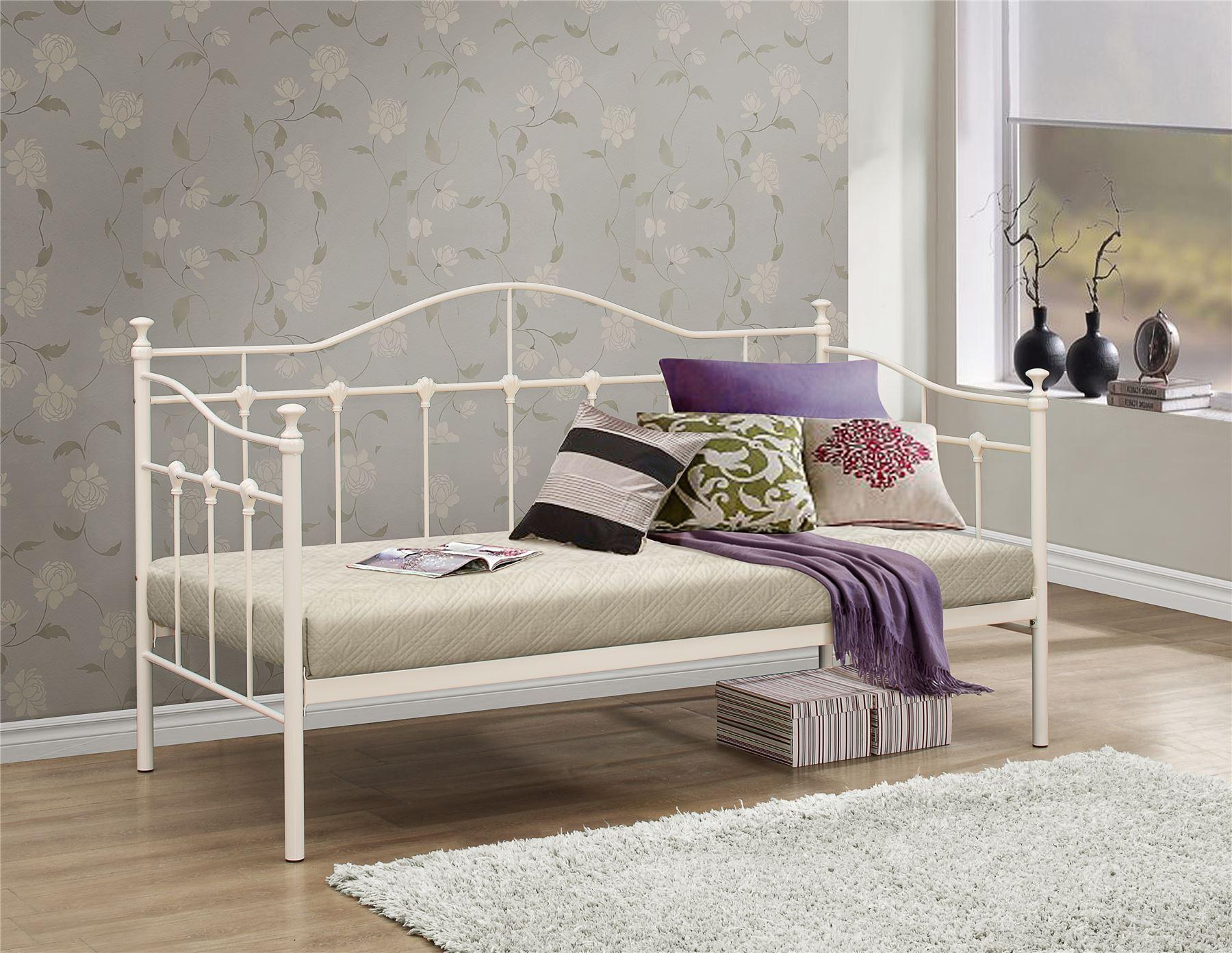 Home Furniture Diy Bed Frames Divan Bases Birlea Torino 90cm 3ft Single Ivory Off White Day Bed Metal Bed Frame Bedstead Bortexgroup Com