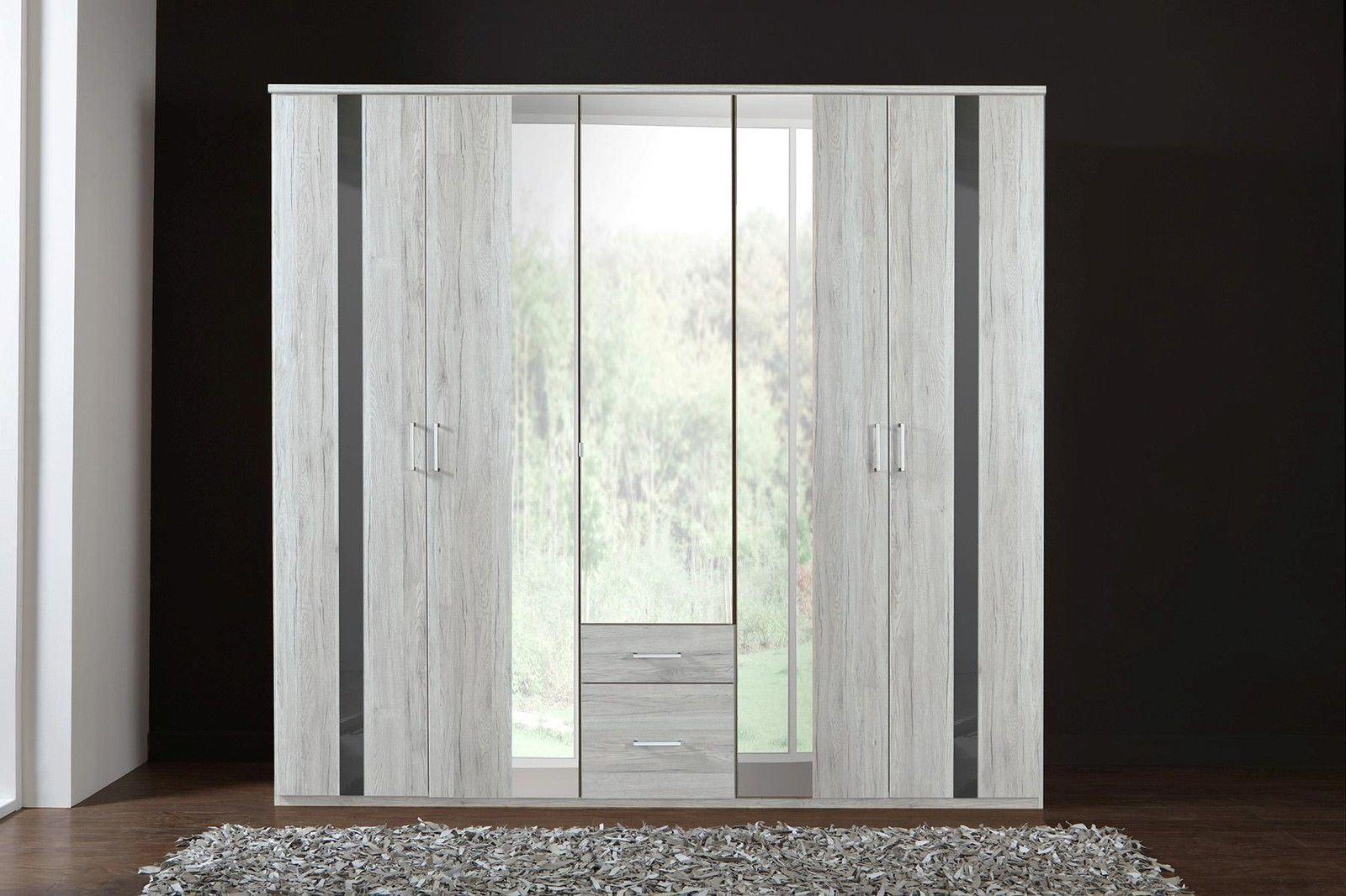 German Nizza Driftwood White Oak Grey Gloss 225cm Mirror