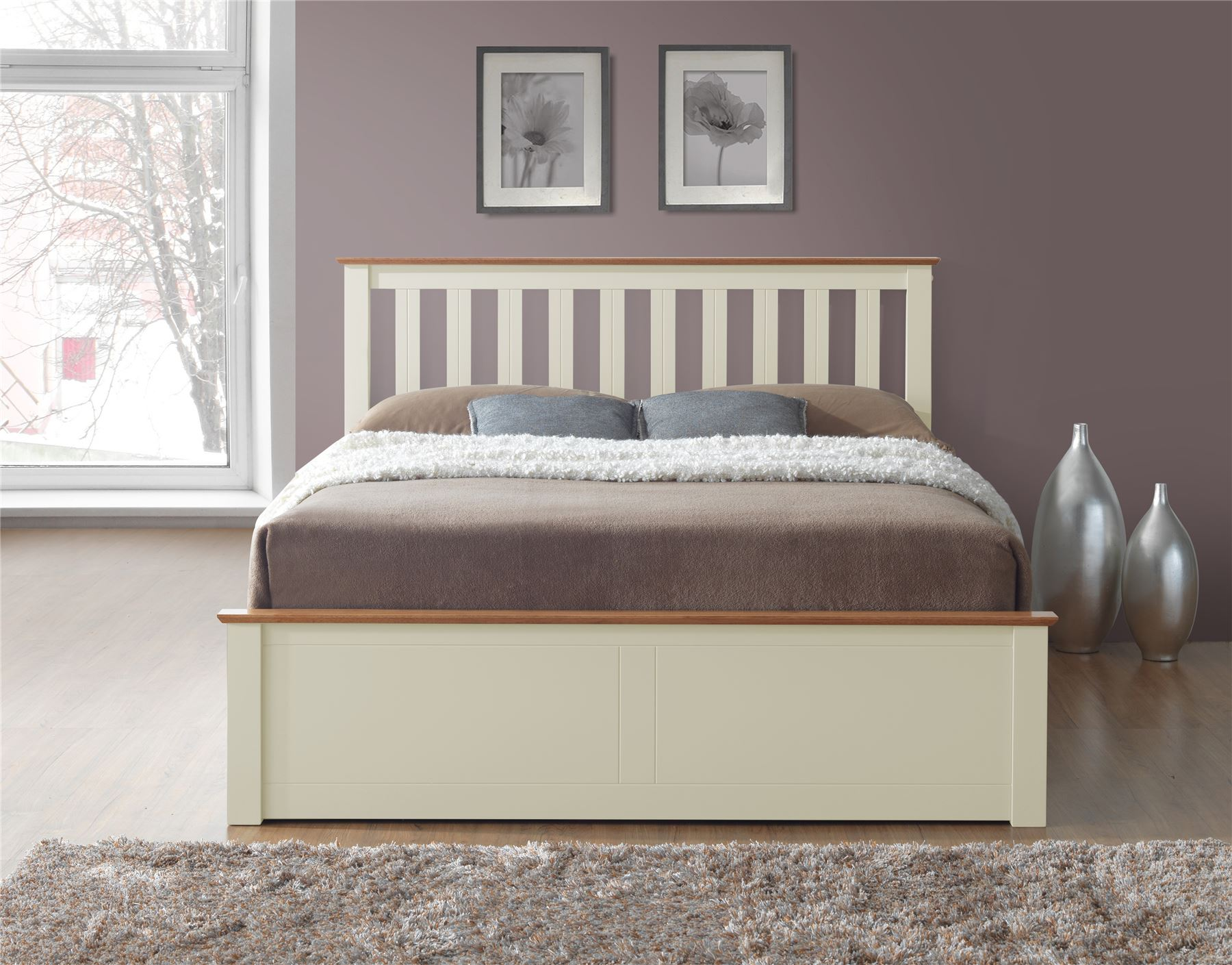 phoenix wood ottoman bed frame storage double 4ft6 cream. Black Bedroom Furniture Sets. Home Design Ideas