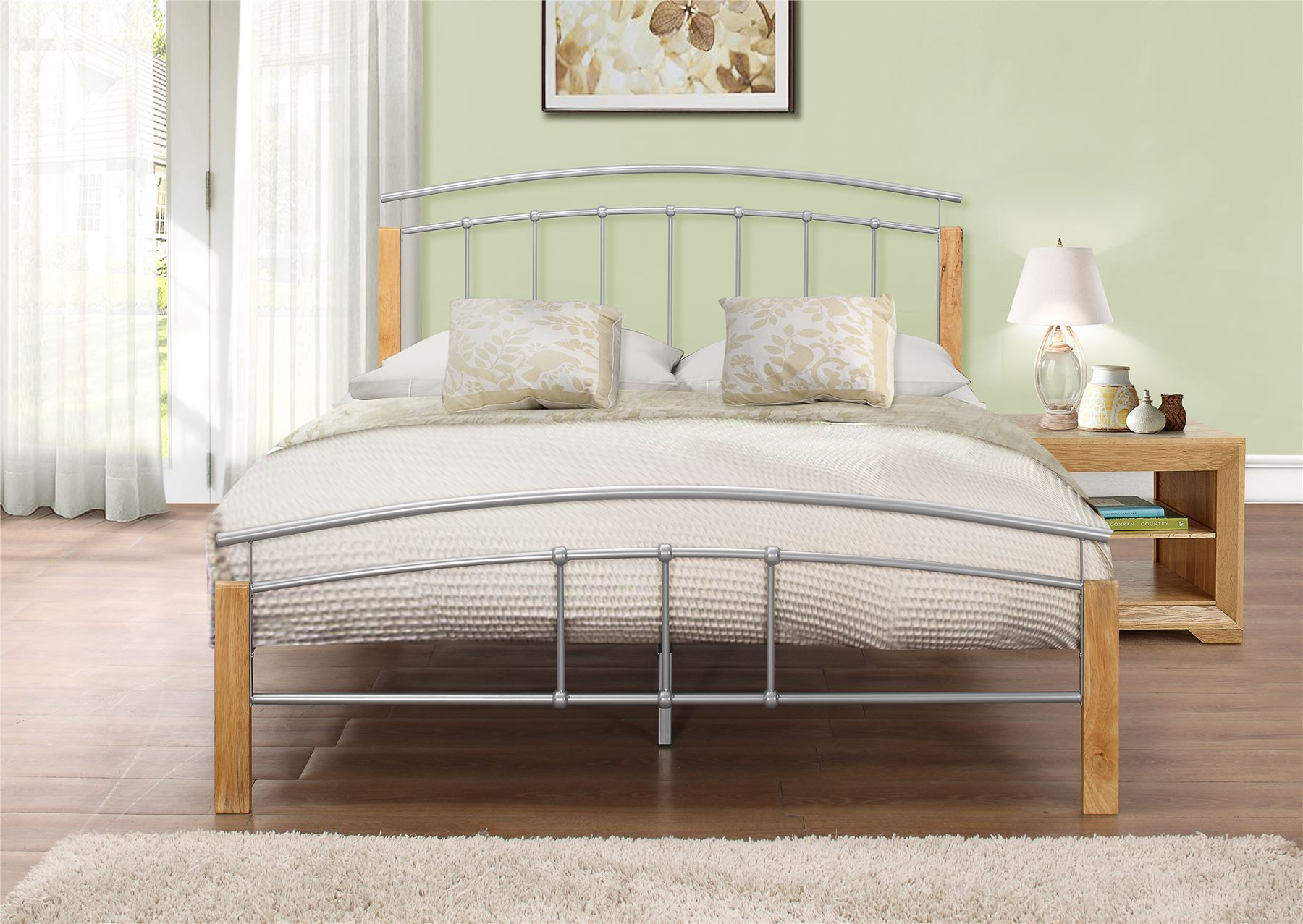 Single,Double,King Size Tetras Silver Metal Bed Frame With Oak Wooden Posts