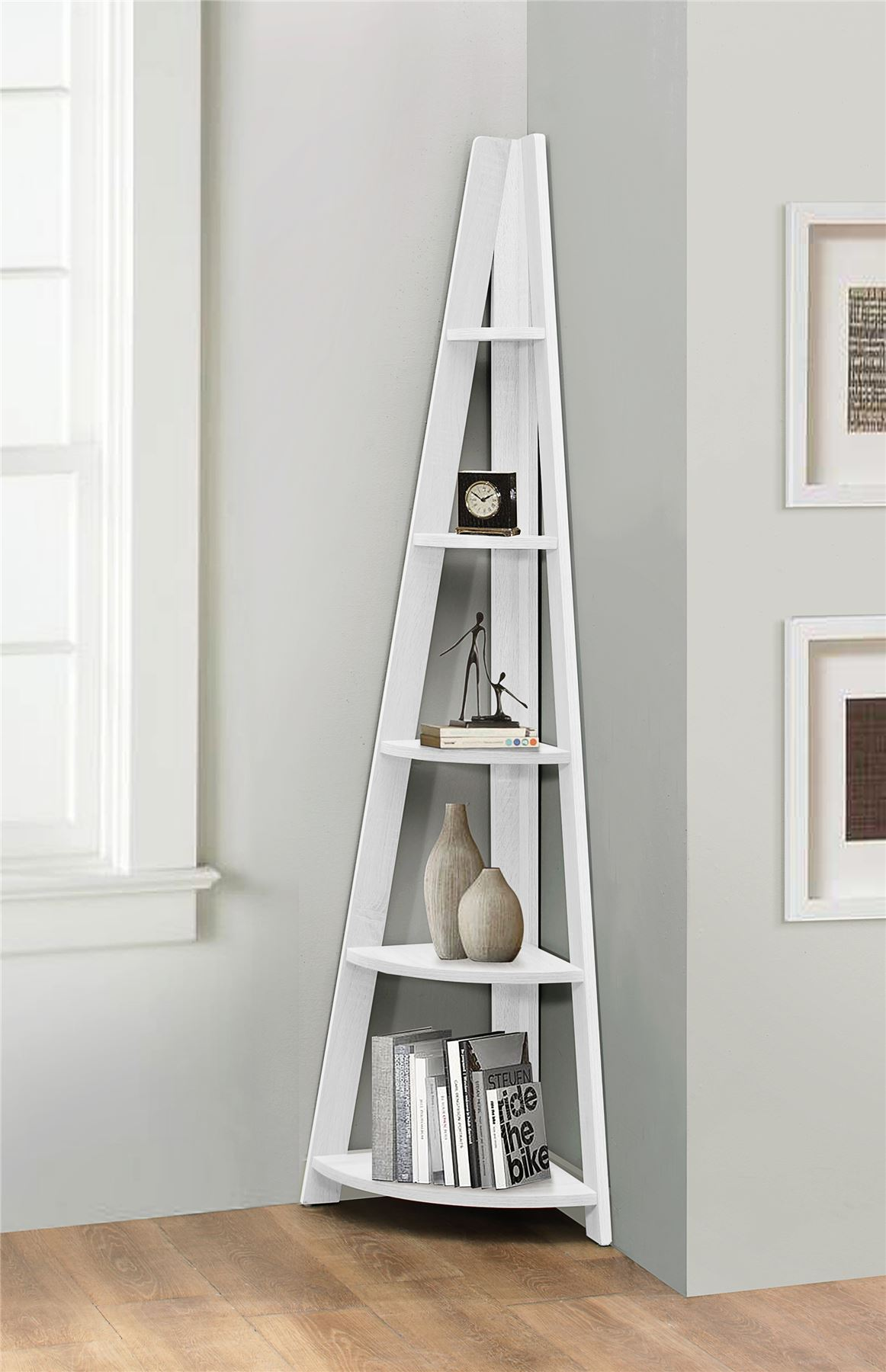 Birlea nordic scandinavian retro corner ladder bookcase for Two tier desk ikea