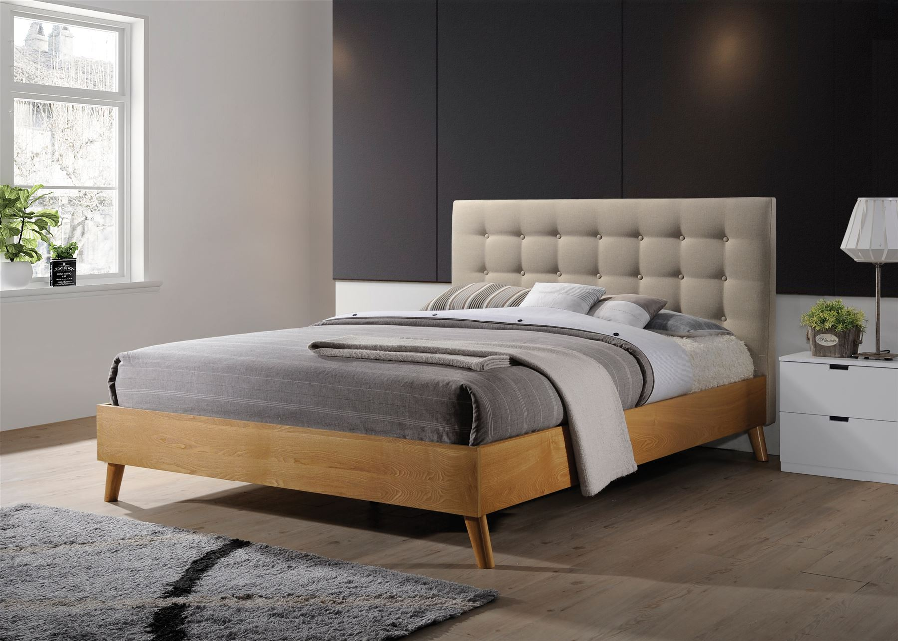 Gino Bed Frame Beige Fabric Oak Wood King Size 5ft 150cm