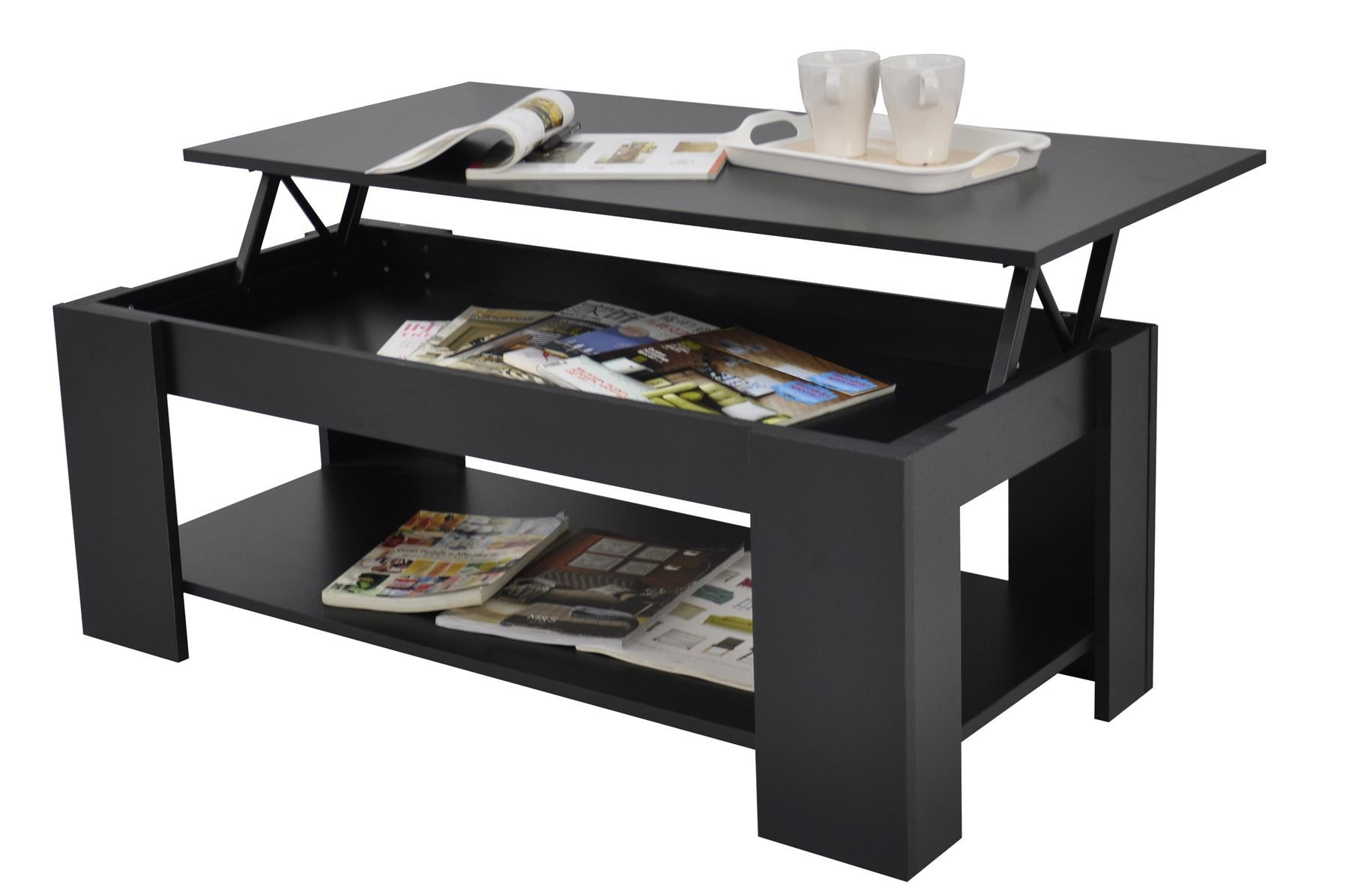 Stephanie Storage Large Solid Lift Up Coffee Table Black Shelf Modern Ebay