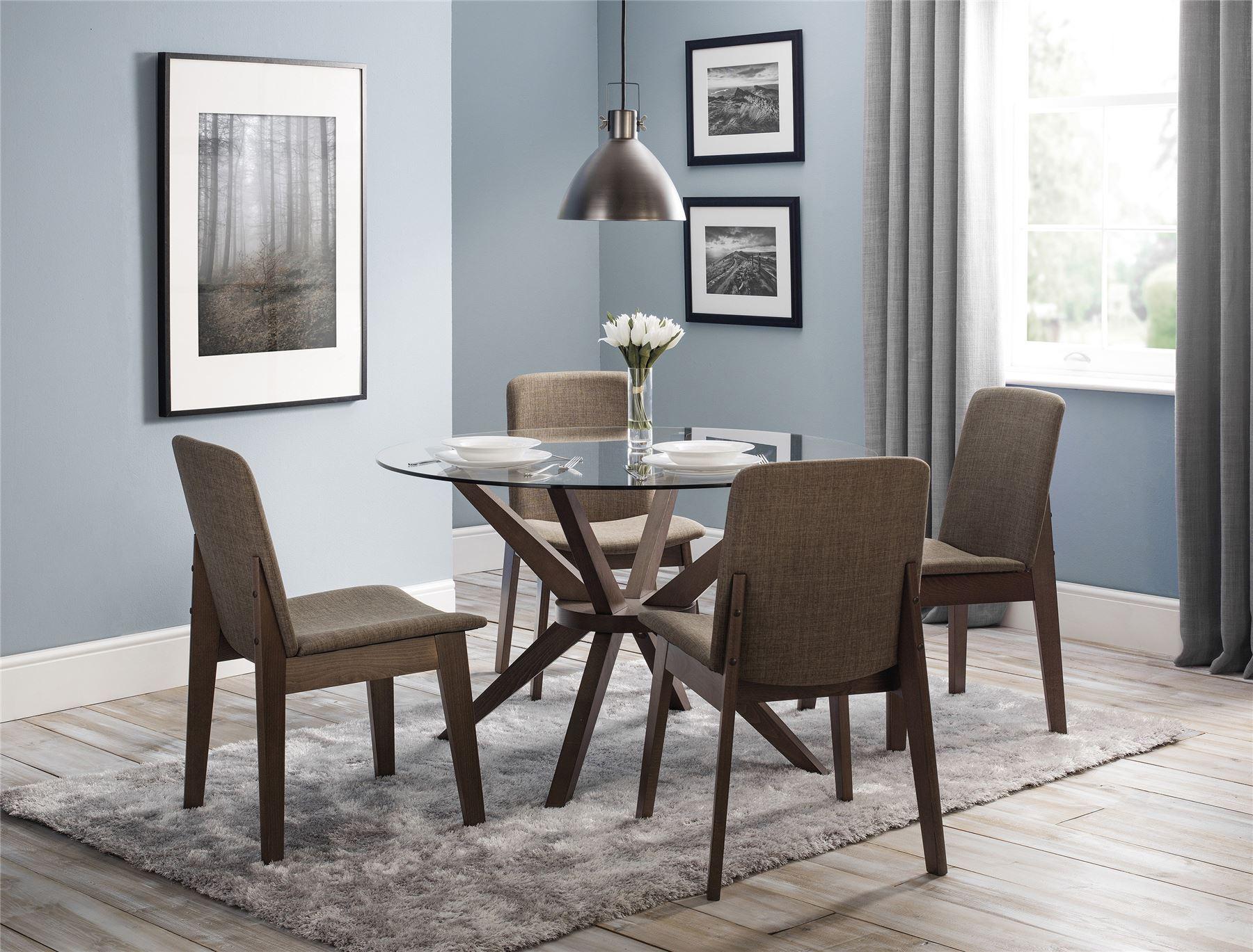 Julian bowen chelsea round dining table glass walnut finish 4 kensington chairs