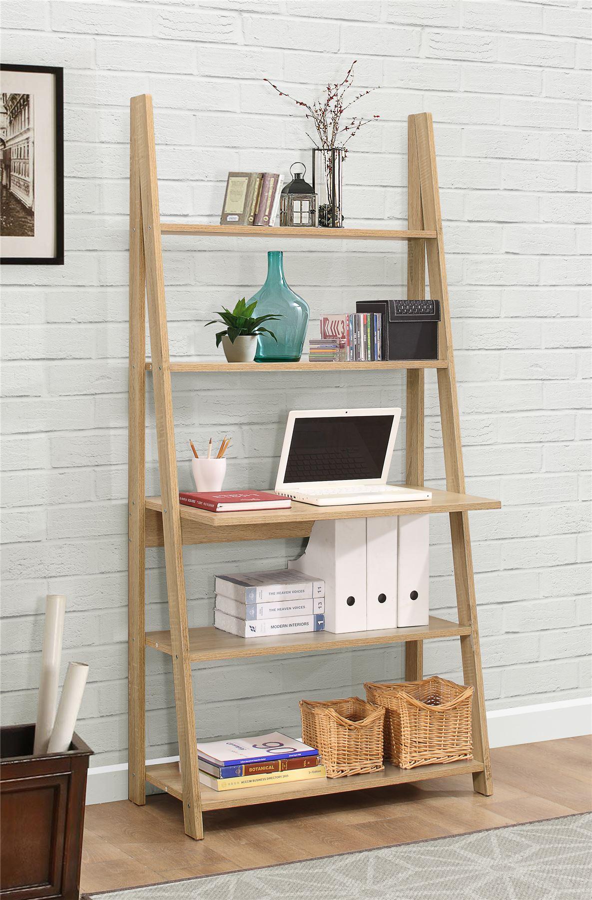 Birlea Nordic Scandinavian Retro Ladder Bookcase Desk
