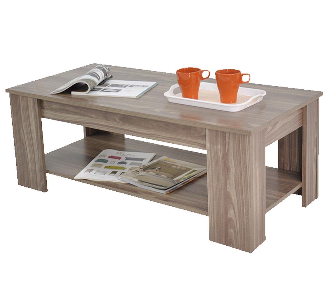 Stephanie Storage Large Solid Lift Up Coffee Table Walnut Wood Shelf Ebay
