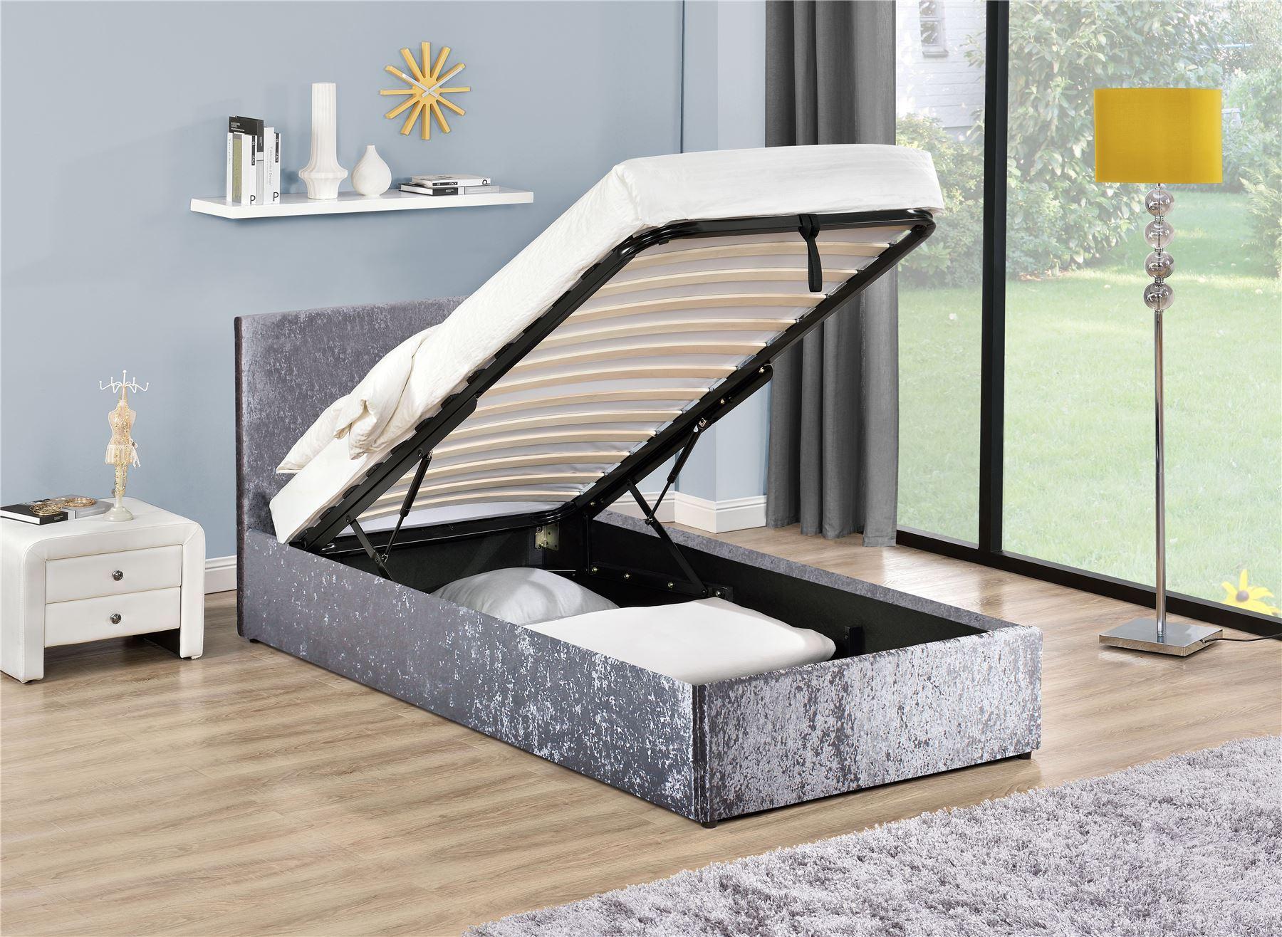 Birlea berlin silver crushed velvet ottoman storage bed for Berlin furniture