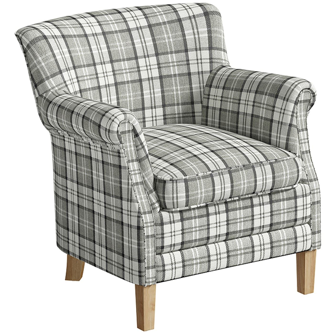 County Armchair Grey Check Fabric Accent Easy Chair ...