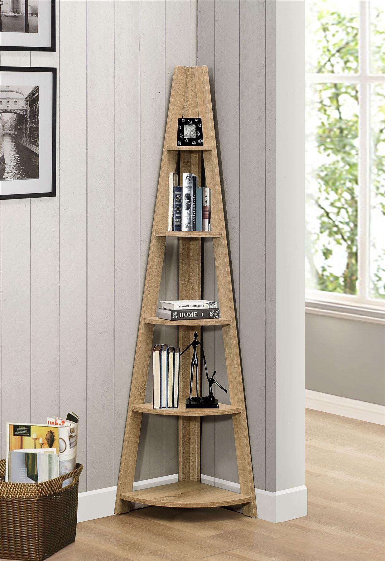 Casual Home 5 Shelf Corner Ladder Bookcase In Espresso ... |Corner Ladder Bookshelf
