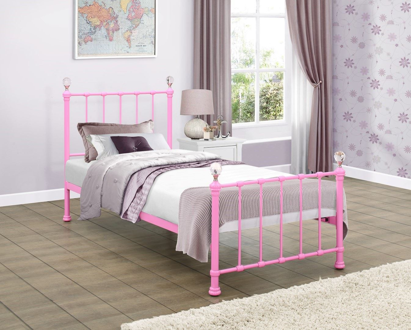 Jessica 90cm 3FT Single Hot Pink Metal Bed Frame Bedstead with ...