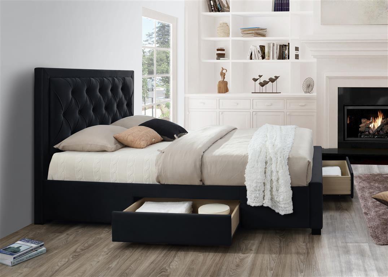 Birlea Woodbury Black Fabric 4 Drawer Storage Bed Frame King Size ...