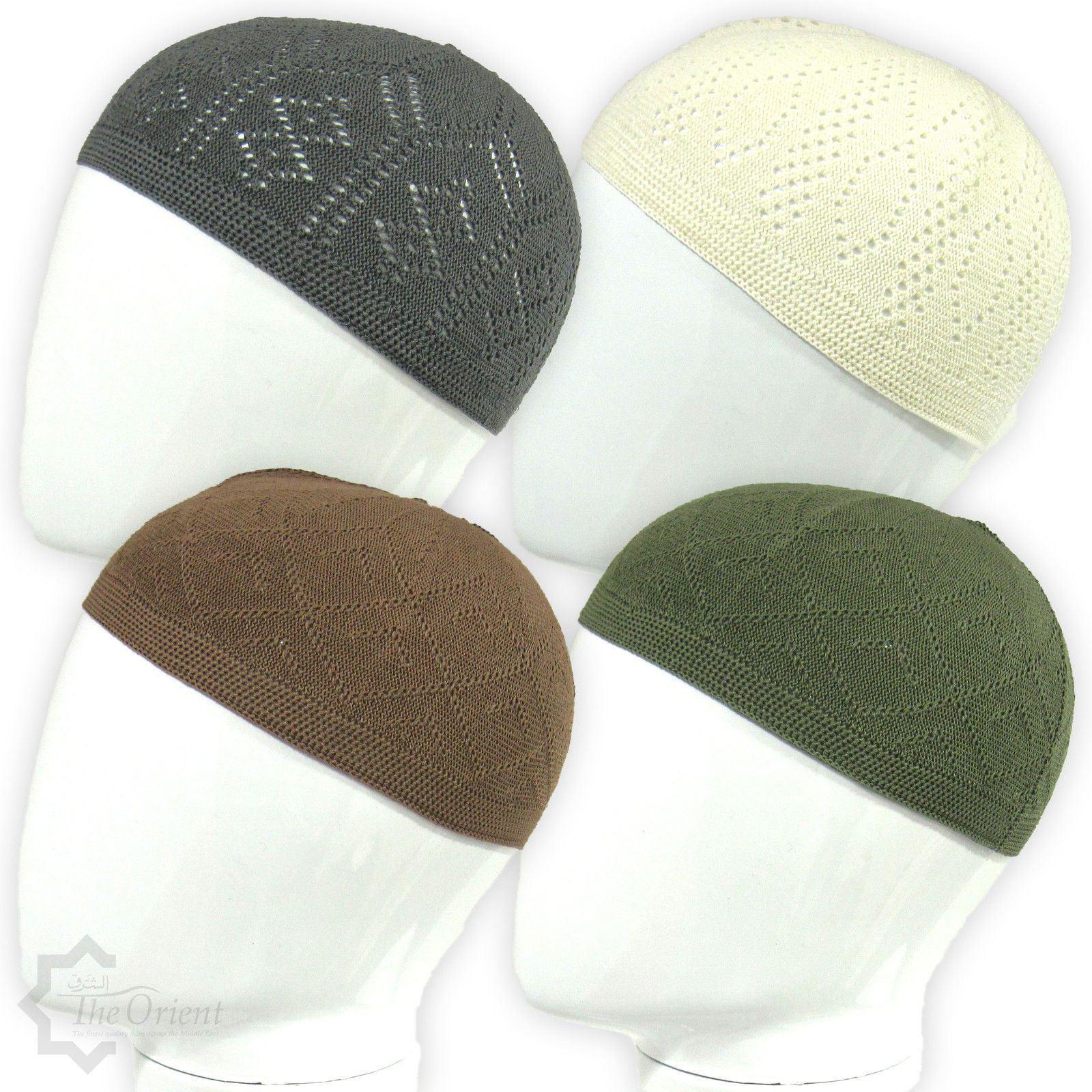 Men Skull Cap Muslim Islamic Prayer Hat Topi Kufi Head Wear Clothing Colours ed73ed4be6