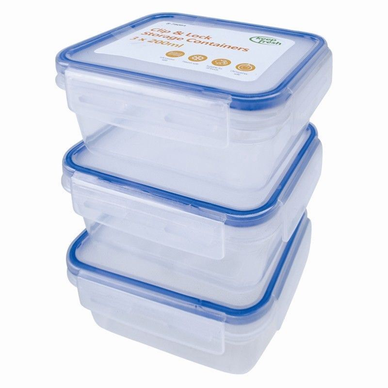 3 Pack Clip Lock Airtight Kitchen Food Baby Storage Container