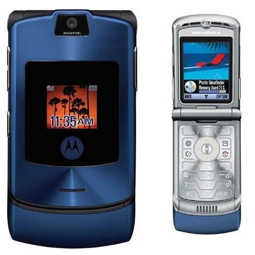 Motorola RAZR V3 Unlocked flip Mobile Phone New Boxed Blue ...