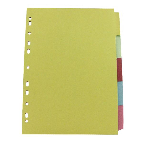50 x 5 Part Subject File Filing Dividers A4 Multi Coloured Same Day Dispatch
